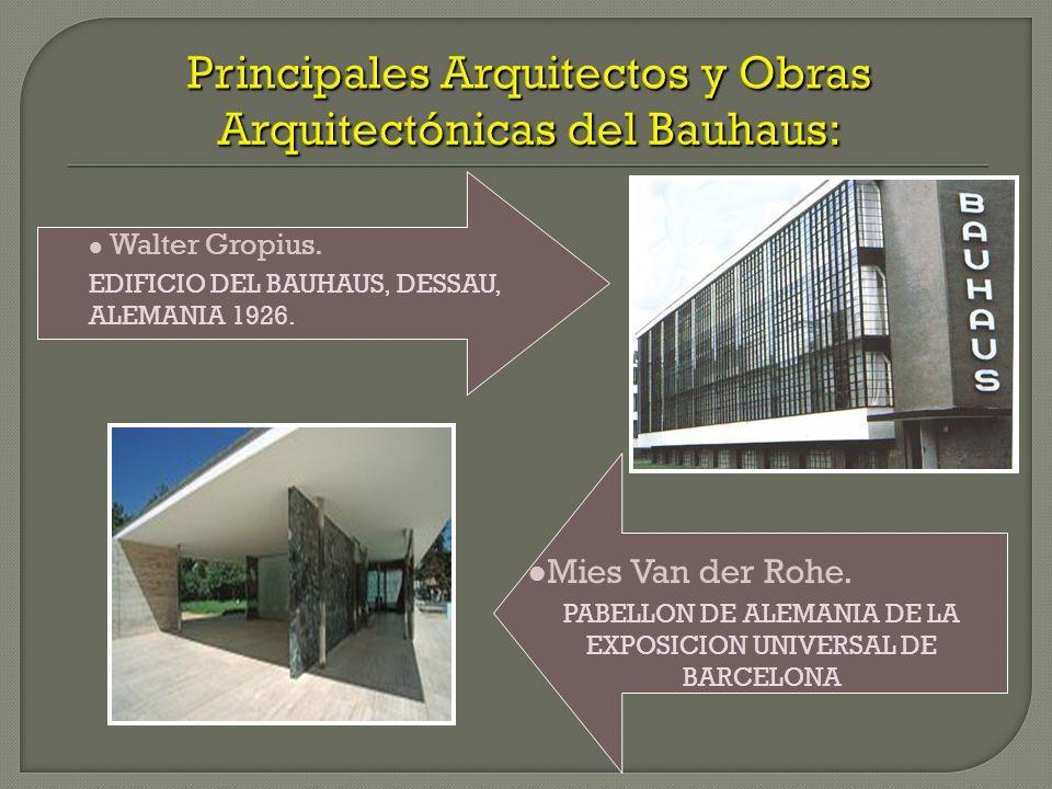 Principales Arquitectos y Obras Arquitectónicas del Bauhaus: