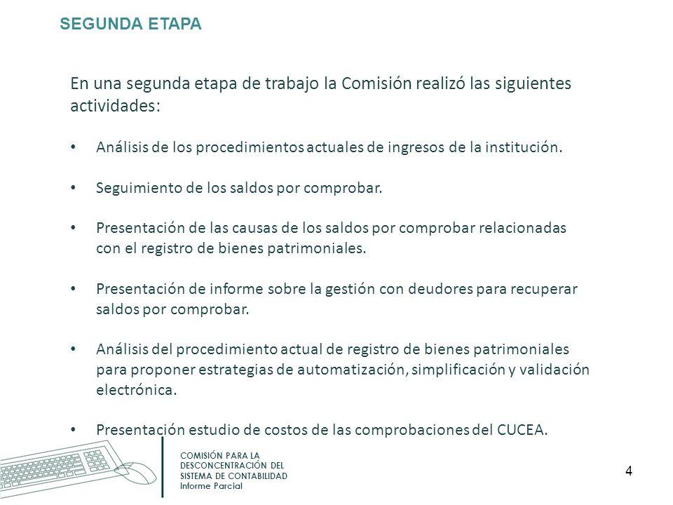 SEGUNDA ETAPA En una segunda etapa de trabajo la Comisión realizó las siguientes actividades: