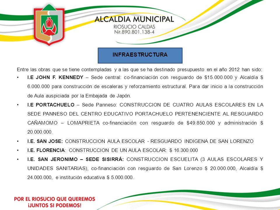 INFRAESTRUCTURA Entre las obras que se tiene contempladas y a las que se ha destinado presupuesto en el año 2012 han sido: