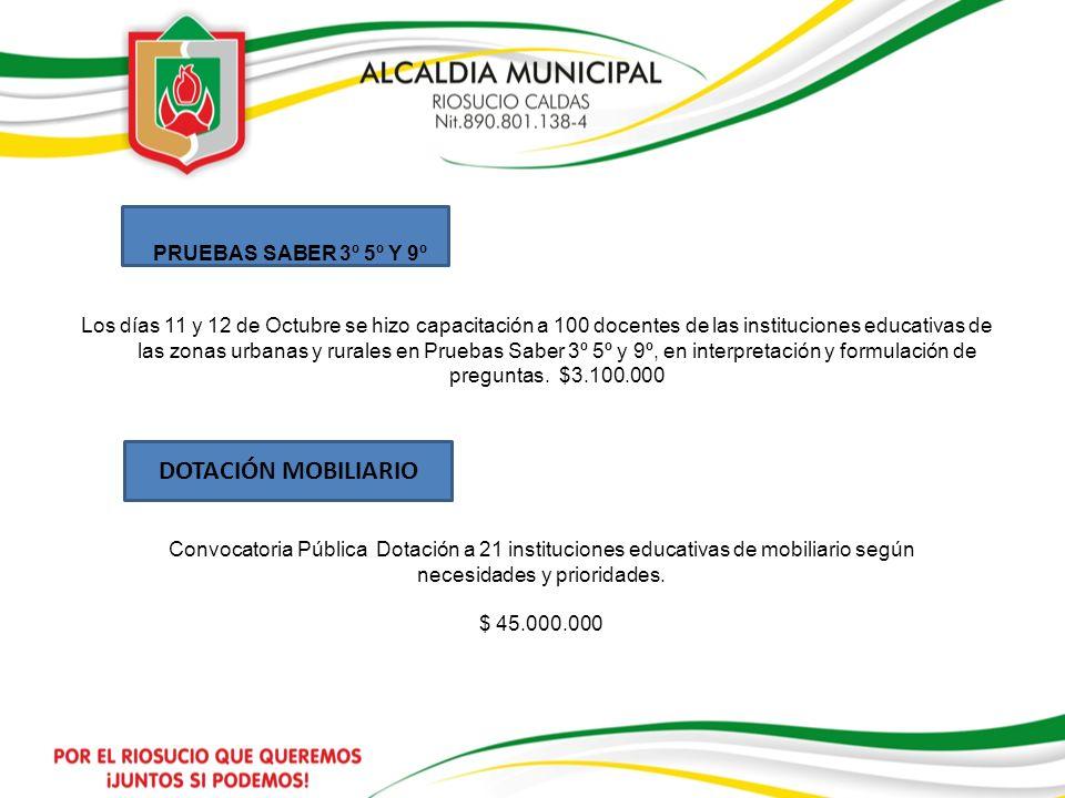 DOTACIÓN MOBILIARIO PRUEBAS SABER 3º 5º Y 9º
