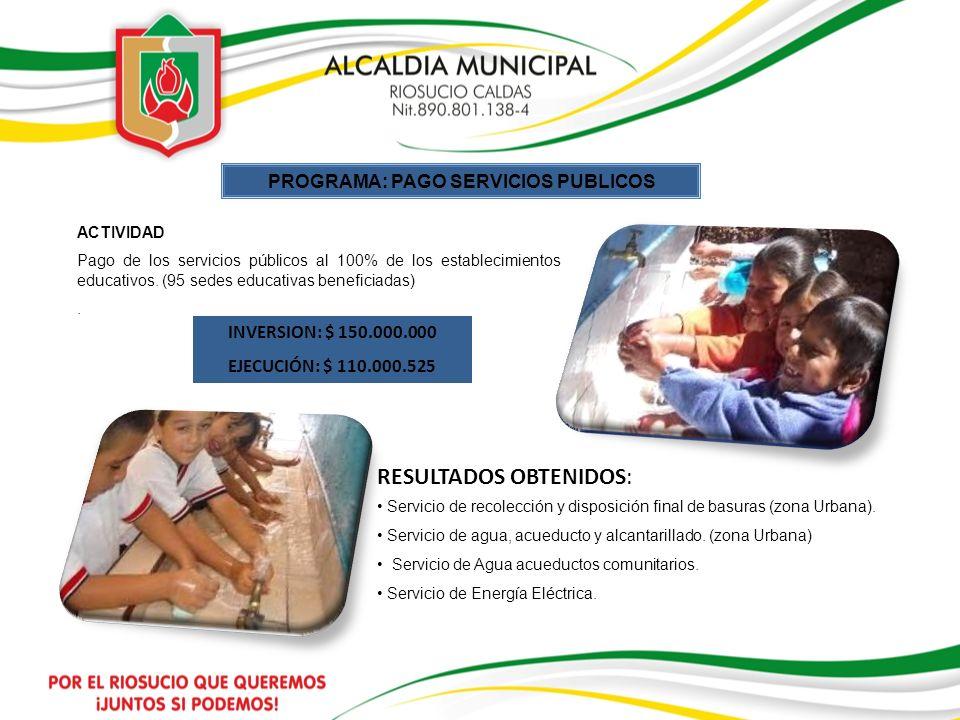 PROGRAMA: PAGO SERVICIOS PUBLICOS