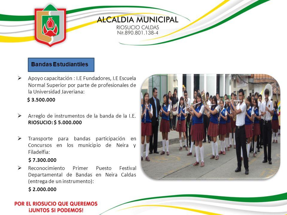Bandas Estudiantiles Apoyo capacitación : I.E Fundadores, I.E Escuela Normal Superior por parte de profesionales de la Universidad Javeriana: