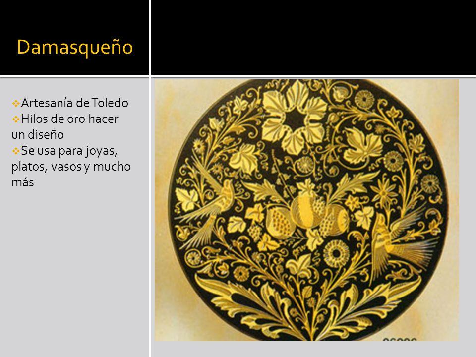 Damasqueño Artesanía de Toledo Hilos de oro hacer un diseño