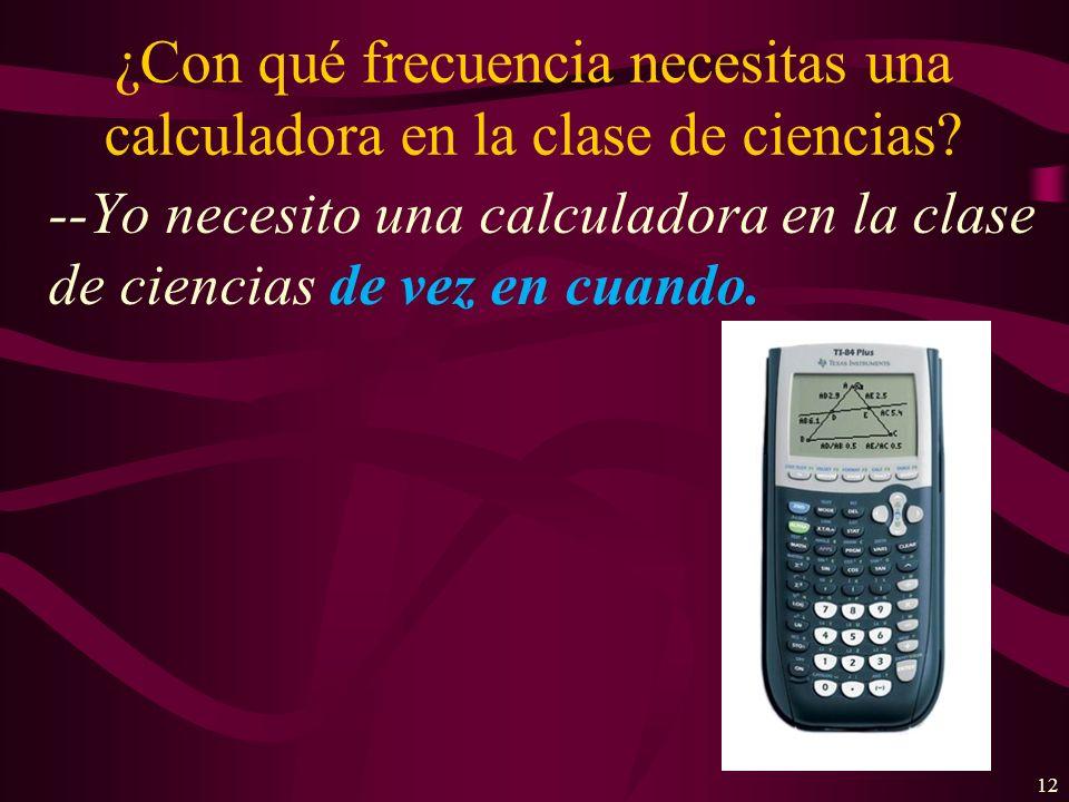 ¿Con qué frecuencia necesitas una calculadora en la clase de ciencias