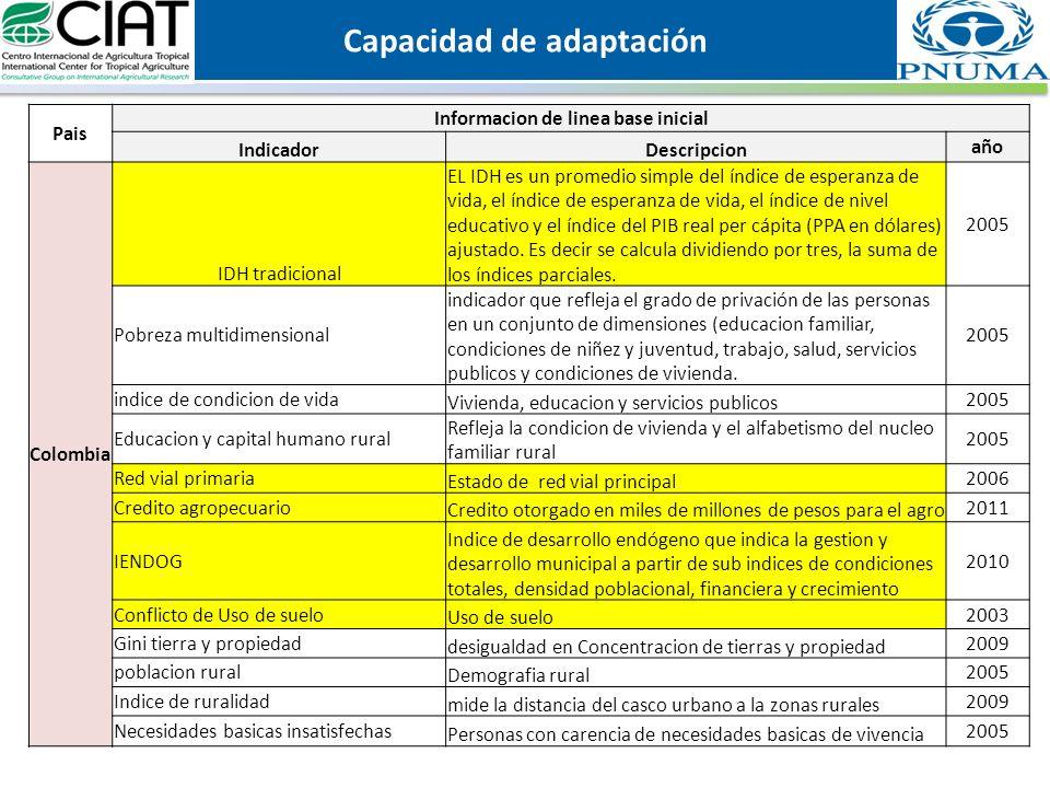 Capacidad de adaptación Informacion de linea base inicial