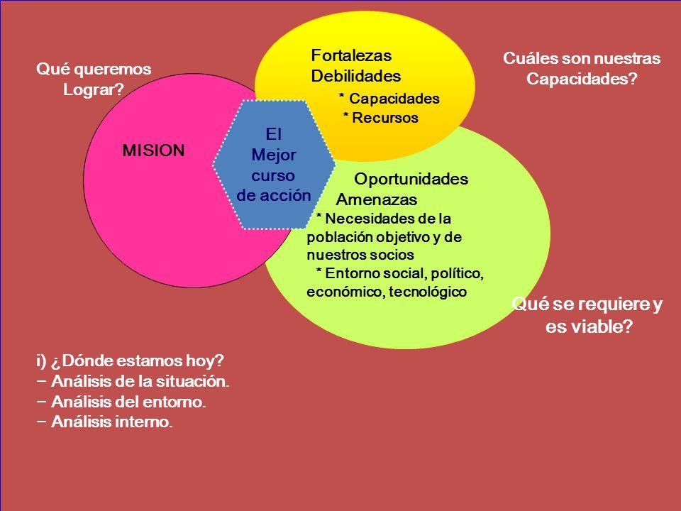 MISION * Capacidades Oportunidades Qué se requiere y es viable