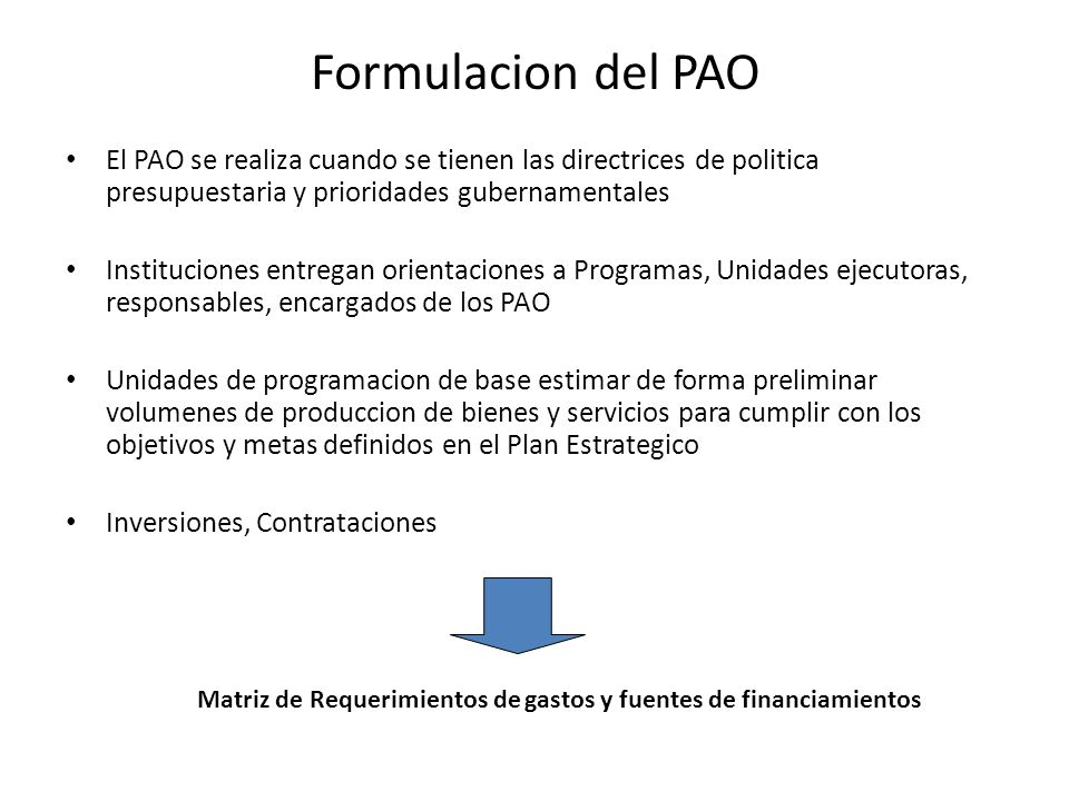 Matriz de Requerimientos de gastos y fuentes de financiamientos