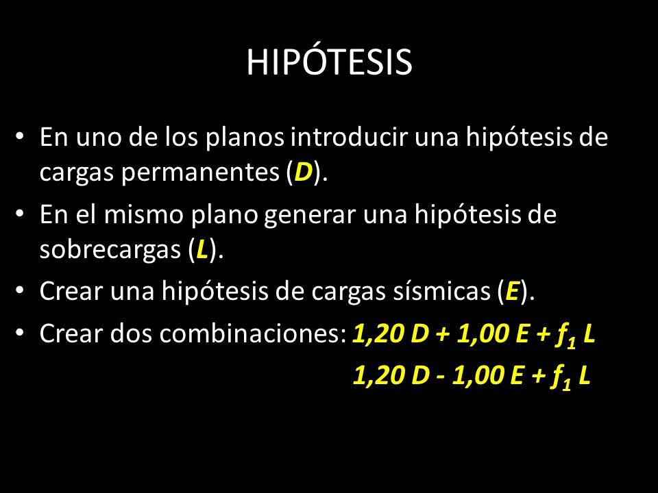 HIPÓTESIS En uno de los planos introducir una hipótesis de cargas permanentes (D). En el mismo plano generar una hipótesis de sobrecargas (L).
