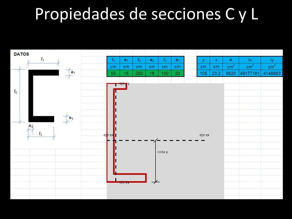 Propiedades de secciones C y L