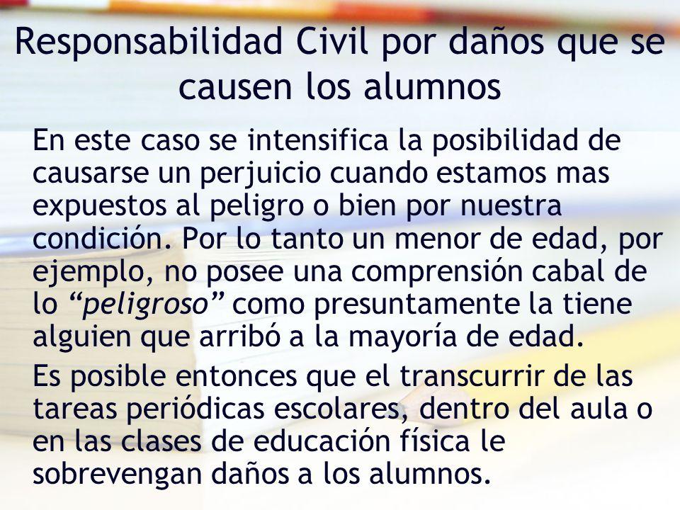 Responsabilidad Civil por daños que se causen los alumnos