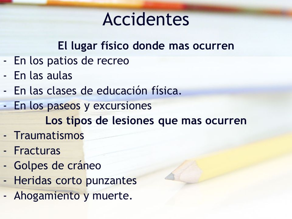 Accidentes El lugar físico donde mas ocurren En los patios de recreo