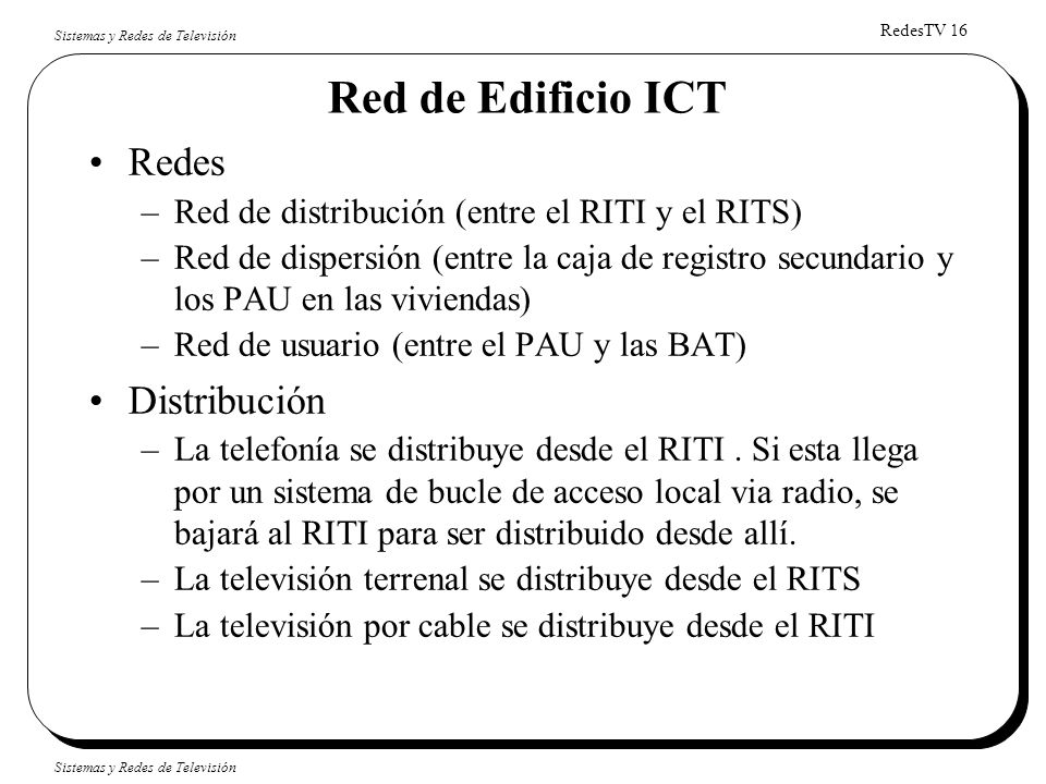 Red de Edificio ICT Redes Distribución