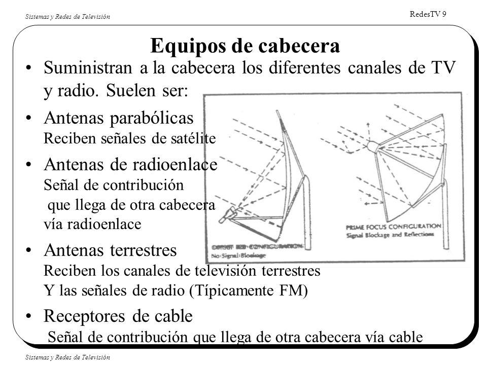 Equipos de cabecera Suministran a la cabecera los diferentes canales de TV y radio. Suelen ser: Antenas parabólicas Reciben señales de satélite.