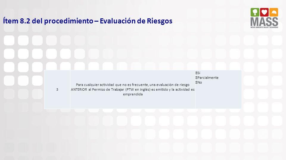 Ítem 8.2 del procedimiento – Evaluación de Riesgos
