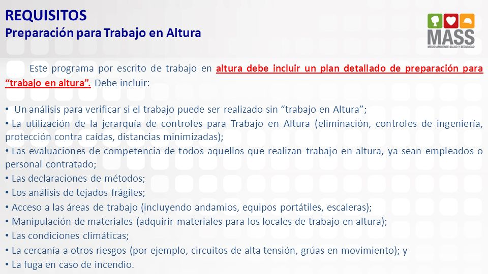 REQUISITOS Preparación para Trabajo en Altura