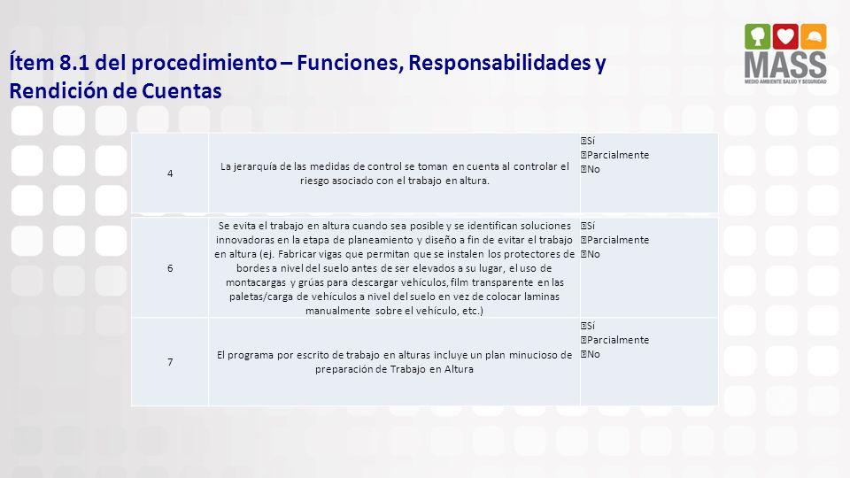 Ítem 8.1 del procedimiento – Funciones, Responsabilidades y Rendición de Cuentas