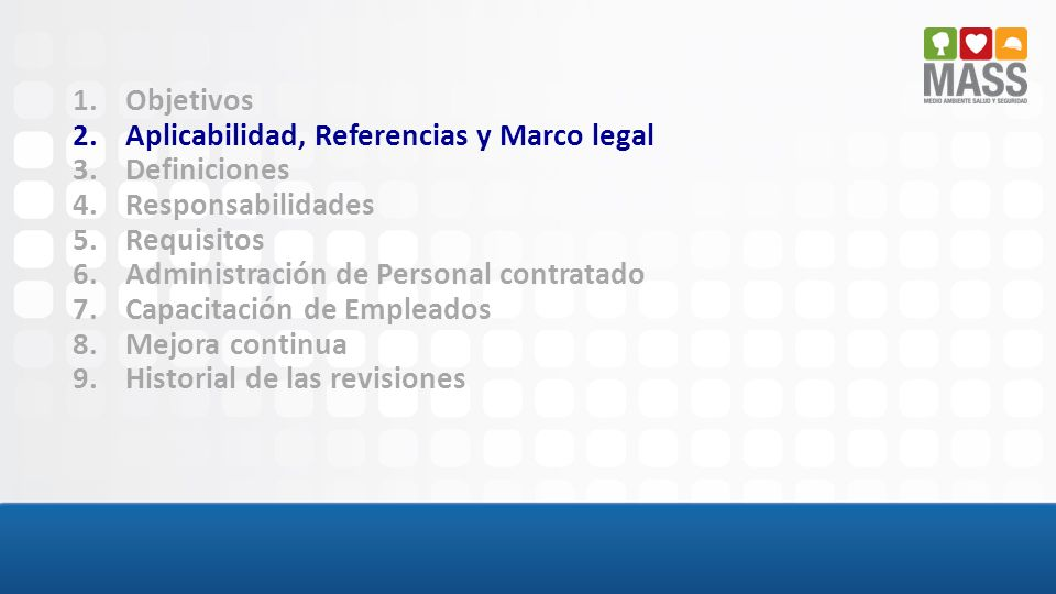 Objetivos Aplicabilidad, Referencias y Marco legal. Definiciones. Responsabilidades. Requisitos.