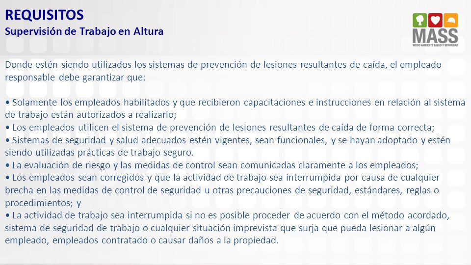 REQUISITOS Supervisión de Trabajo en Altura