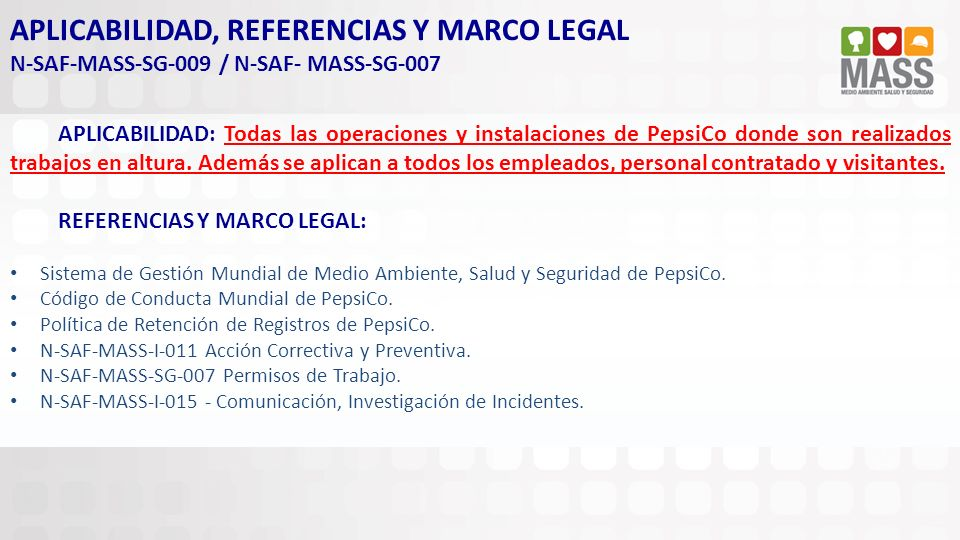 APLICABILIDAD, REFERENCIAS Y MARCO LEGAL