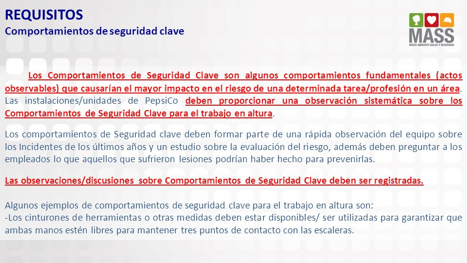 REQUISITOS Comportamientos de seguridad clave
