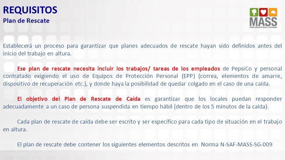 REQUISITOS Plan de Rescate