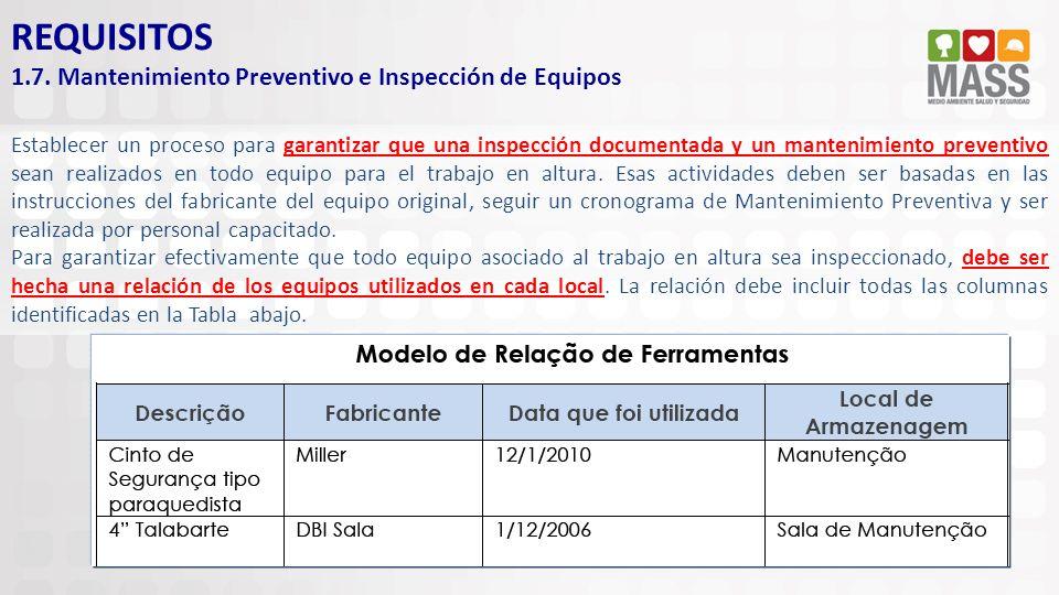REQUISITOS 1.7. Mantenimiento Preventivo e Inspección de Equipos