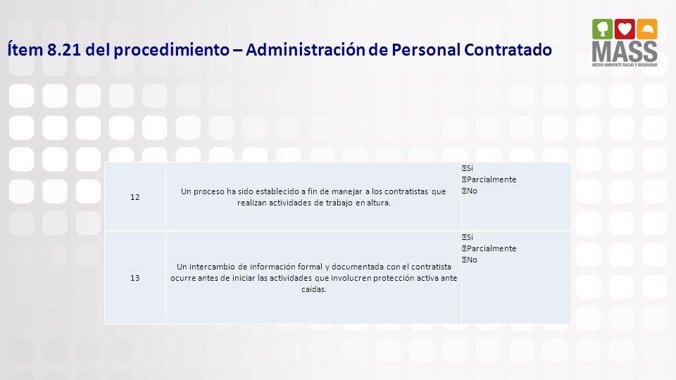 Ítem 8.21 del procedimiento – Administración de Personal Contratado