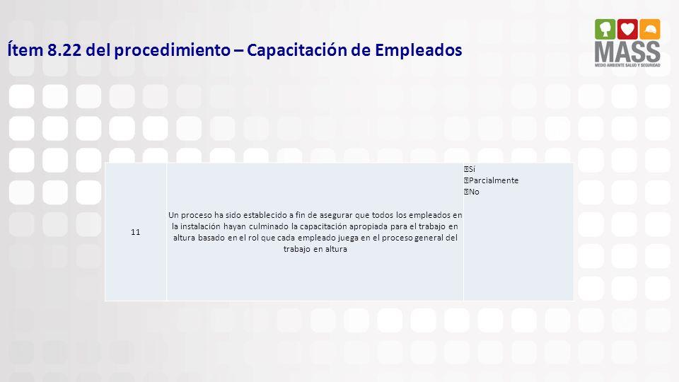 Ítem 8.22 del procedimiento – Capacitación de Empleados