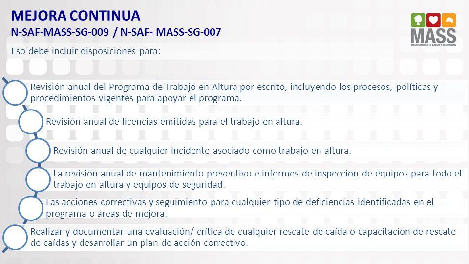 MEJORA CONTINUA N-SAF-MASS-SG-009 / N-SAF- MASS-SG-007