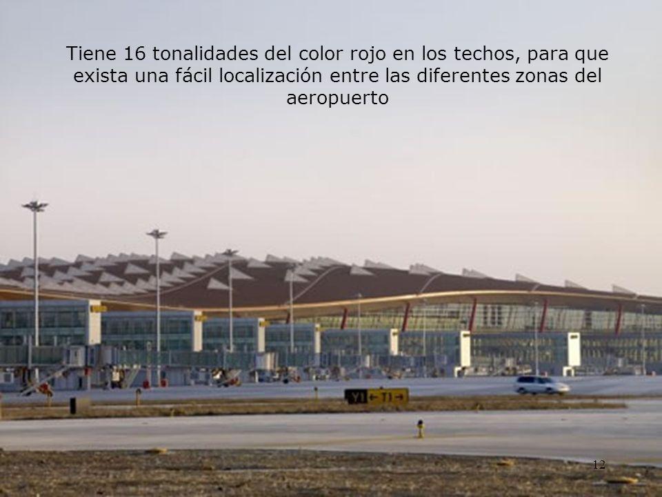Tiene 16 tonalidades del color rojo en los techos, para que exista una fácil localización entre las diferentes zonas del aeropuerto