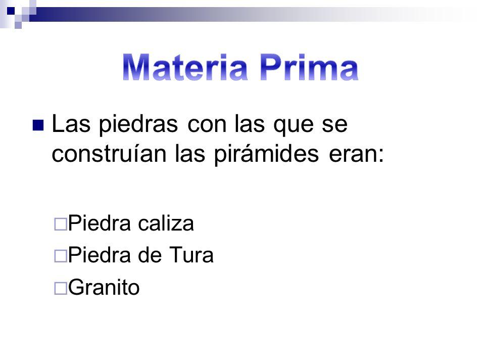 Materia Prima Las piedras con las que se construían las pirámides eran: Piedra caliza. Piedra de Tura.