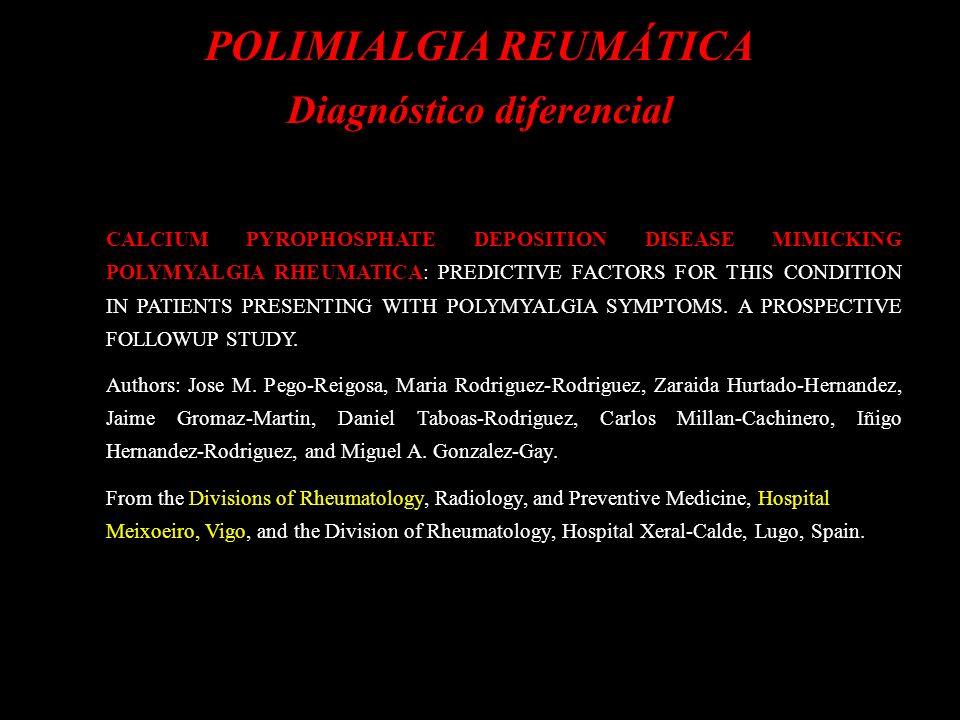 POLIMIALGIA REUMÁTICA Diagnóstico diferencial