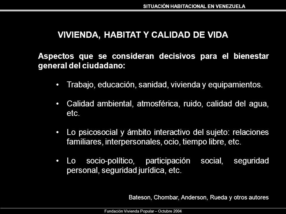VIVIENDA, HABITAT Y CALIDAD DE VIDA