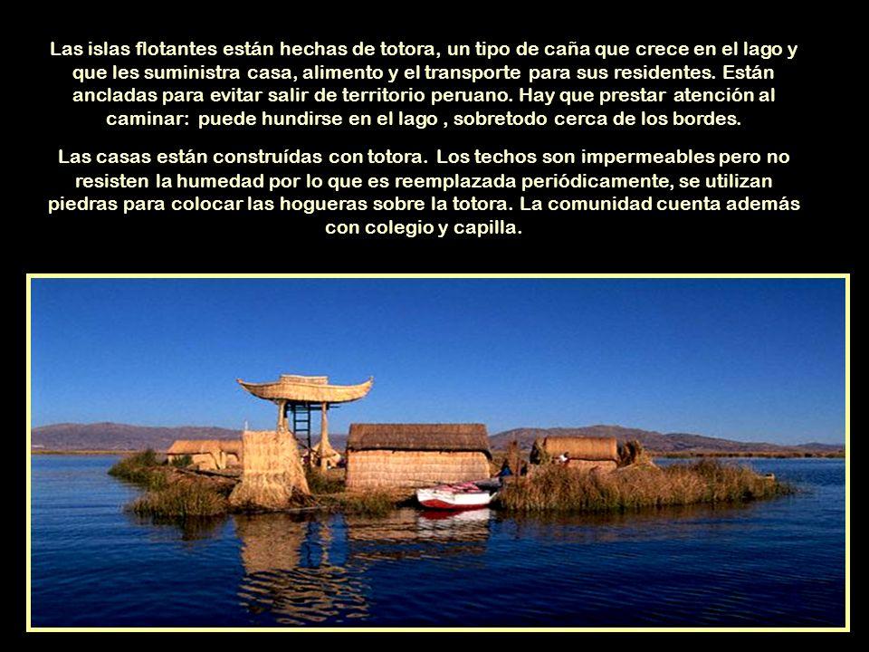Las islas flotantes están hechas de totora, un tipo de caña que crece en el lago y que les suministra casa, alimento y el transporte para sus residentes. Están ancladas para evitar salir de territorio peruano. Hay que prestar atención al caminar: puede hundirse en el lago , sobretodo cerca de los bordes.