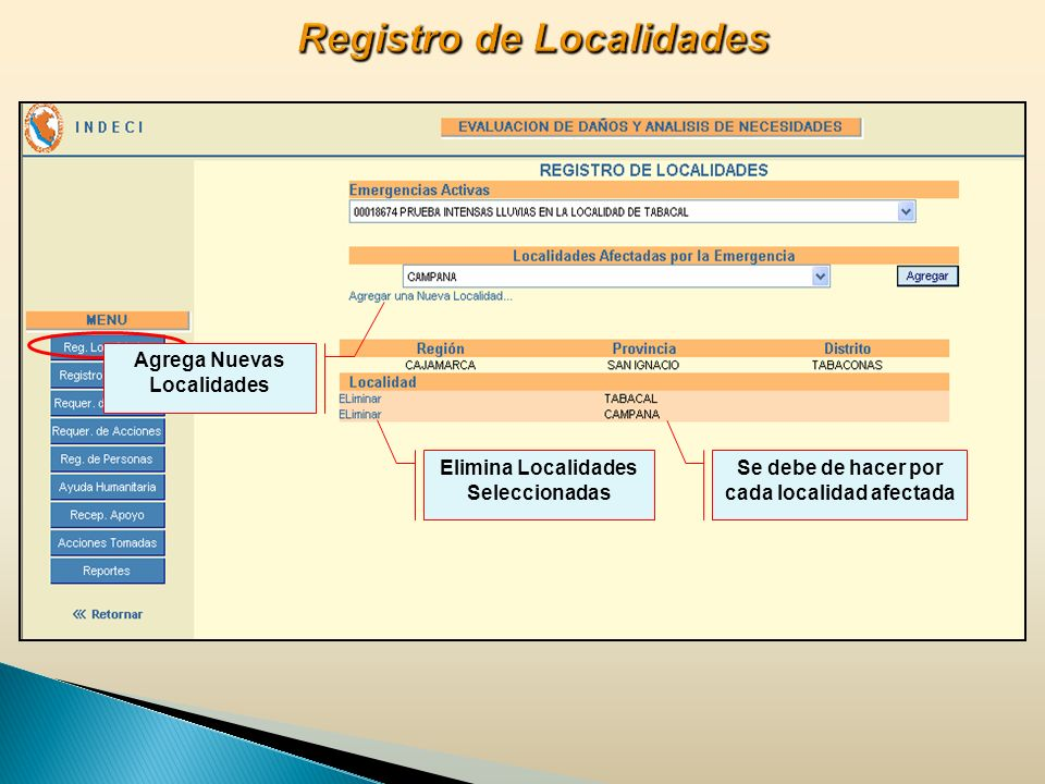 Registro de Localidades