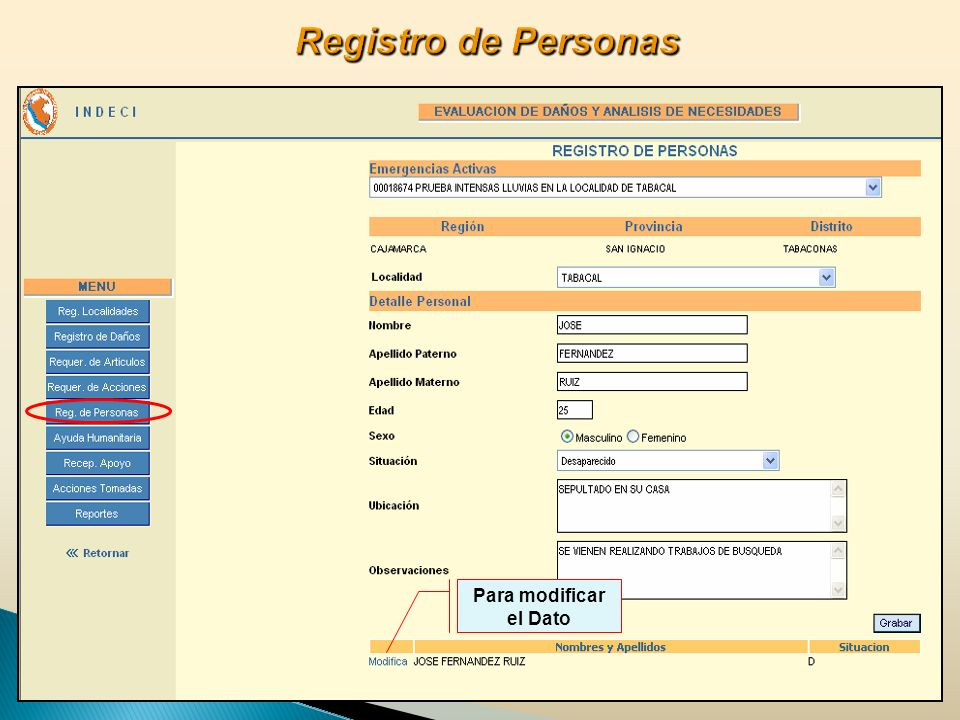 Registro de Personas Para modificar el Dato