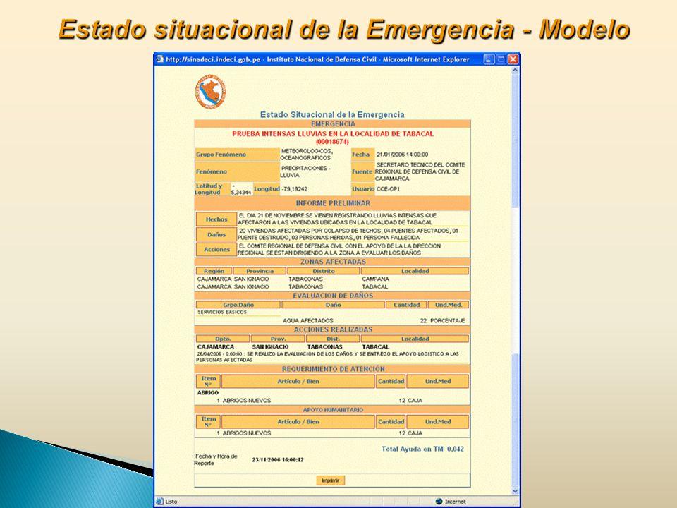 Estado situacional de la Emergencia - Modelo