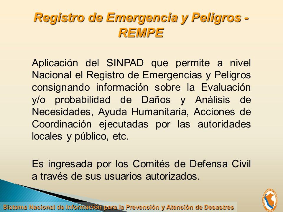 Registro de Emergencia y Peligros - REMPE