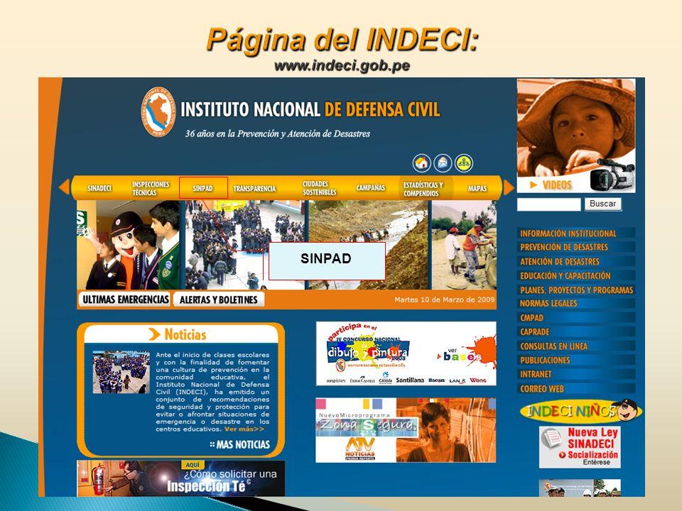 Página del INDECI: www.indeci.gob.pe