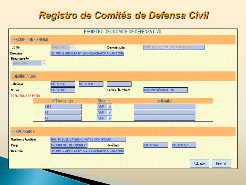 Registro de Comités de Defensa Civil
