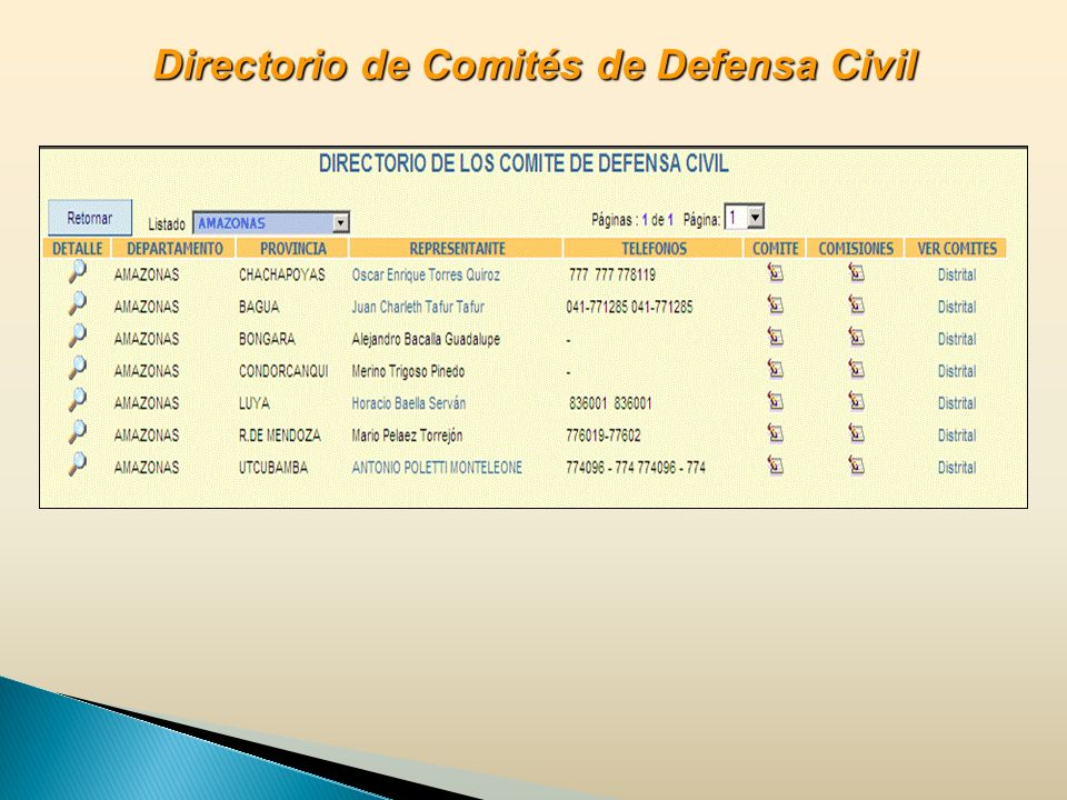 Directorio de Comités de Defensa Civil