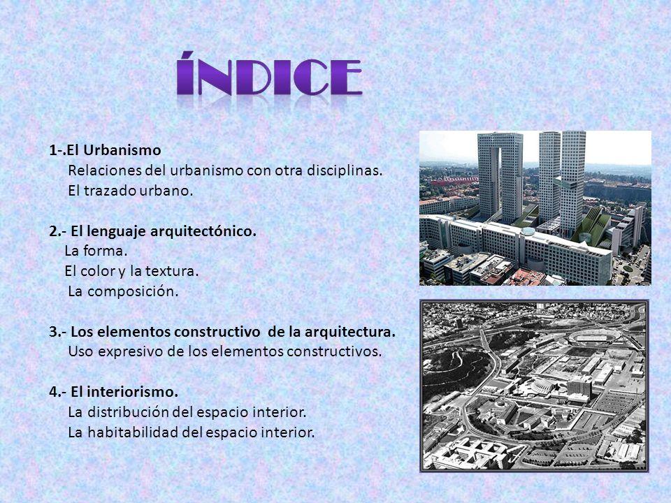 índice 1-.El Urbanismo Relaciones del urbanismo con otra disciplinas.