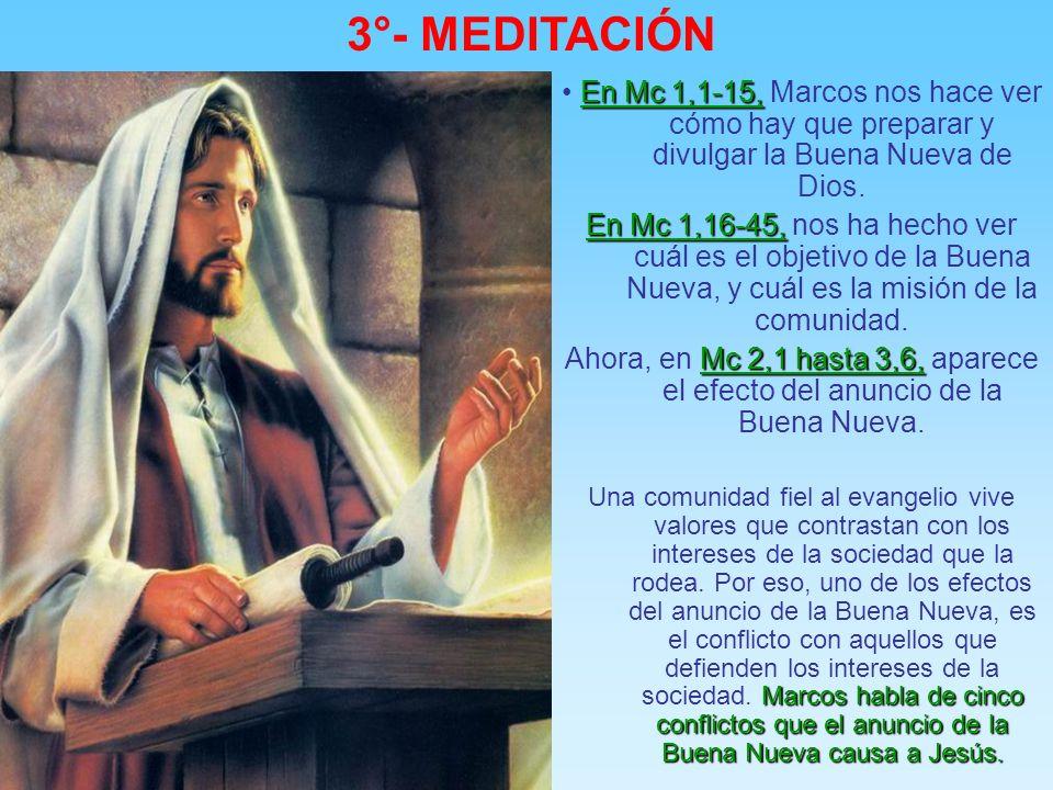 3°- MEDITACIÓN • En Mc 1,1-15, Marcos nos hace ver cómo hay que preparar y divulgar la Buena Nueva de Dios.