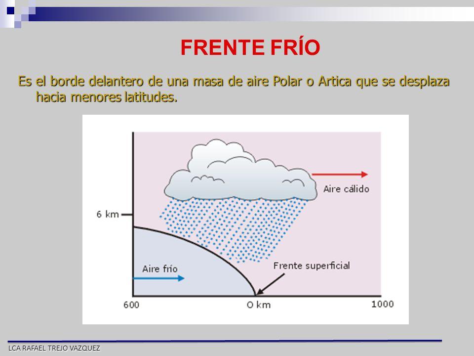 FRENTE FRÍO Es el borde delantero de una masa de aire Polar o Artica que se desplaza hacia menores latitudes.