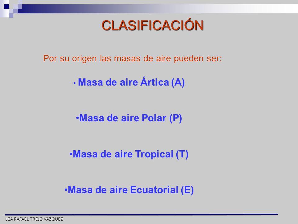 Masa de aire Tropical (T) Masa de aire Ecuatorial (E)