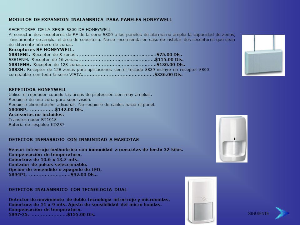 MODULOS DE EXPANSION INALAMBRICA PARA PANELES HONEYWELL