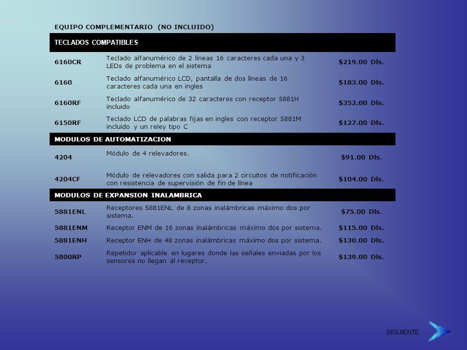 EQUIPO COMPLEMENTARIO (NO INCLUIDO)