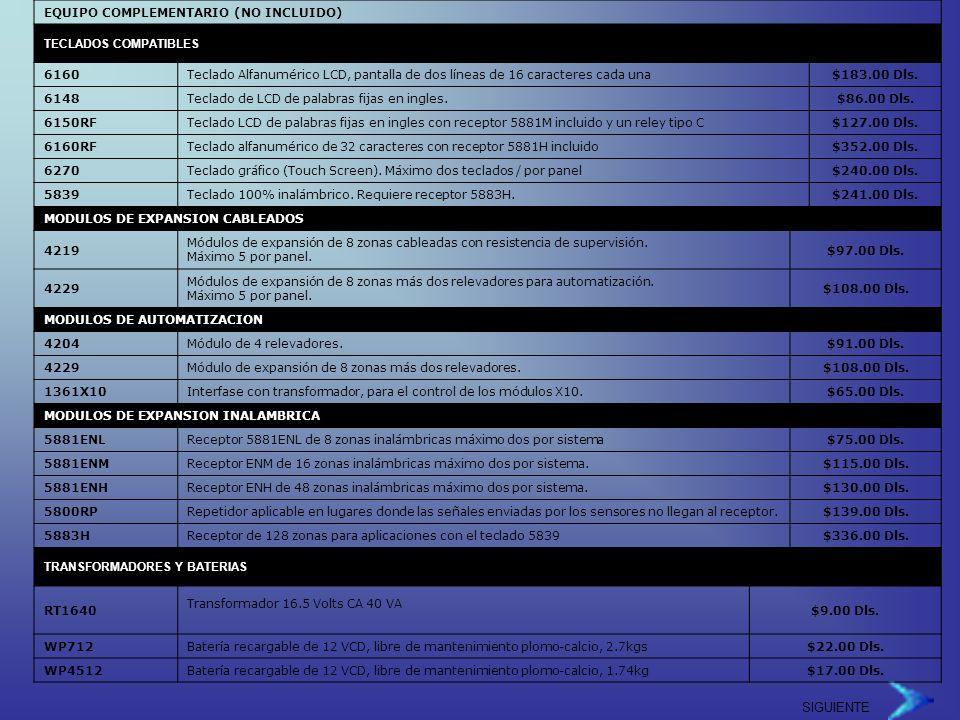 SIGUIENTE EQUIPO COMPLEMENTARIO (NO INCLUIDO) TECLADOS COMPATIBLES