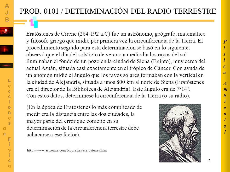 PROB. 0101 / DETERMINACIÓN DEL RADIO TERRESTRE