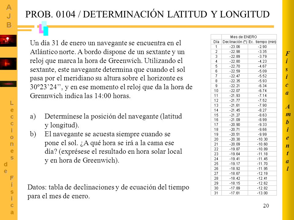 PROB. 0104 / DETERMINACIÓN LATITUD Y LONGITUD